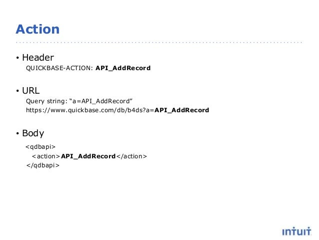 """Action • Header QUICKBASE-ACTION: API_AddRecord • URL Query string: """"a=API_AddRecord"""" https://www.quickbase.com/db/b4ds?a=..."""