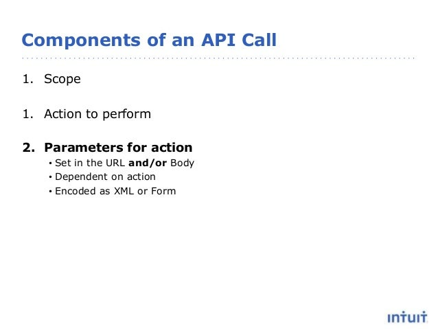 Components of an API Call 1. Scope 1. Action to perform 2. Parameters for action • Set in the URL and/or Body • Dependent ...