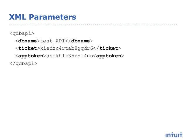 XML Parameters <qdbapi> <dbname>test API</dbname> <ticket>kiedzc4rtab8gqdr6</ticket> <apptoken>asfkhlk35rnl4nn<apptoken> <...