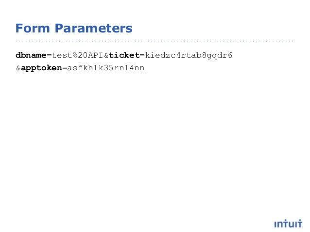 Form Parameters dbname=test%20API&ticket=kiedzc4rtab8gqdr6 &apptoken=asfkhlk35rnl4nn