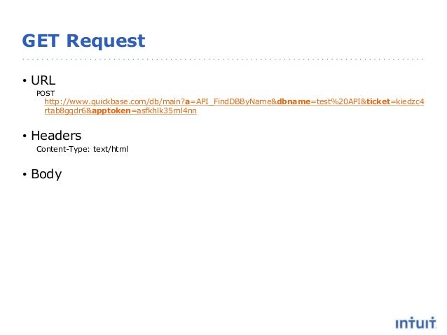 GET Request • URL POST http://www.quickbase.com/db/main?a=API_FindDBByName&dbname=test%20API&ticket=kiedzc4 rtab8gqdr6&app...