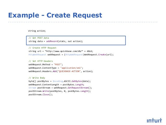 Example - Create Request string action; // Get POST data string data = addRecord(stats, out action); // Create HTTP Reques...