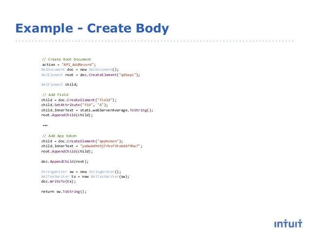 """Example - Create Body // Create Root Document action = """"API_AddRecord""""; XmlDocument doc = new XmlDocument(); XmlElement ro..."""