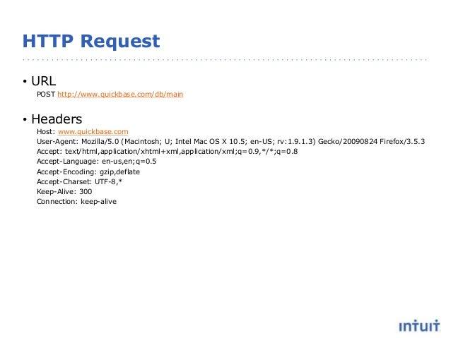 HTTP Request • URL POST http://www.quickbase.com/db/main • Headers Host: www.quickbase.com User-Agent: Mozilla/5.0 (Macint...