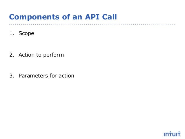 Components of an API Call 1. Scope 2. Action to perform 3. Parameters for action