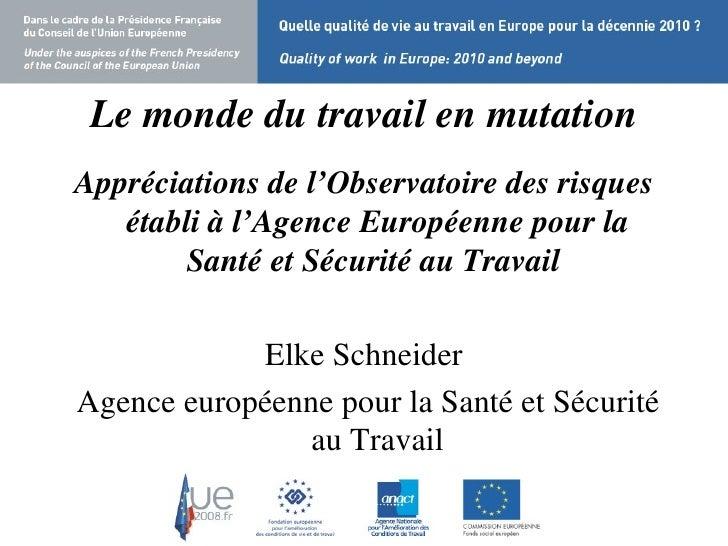 Le   monde du travail en mutation <ul><li>Appréciations de l'Observatoire des risques établi à l'Agence Européenne pour la...