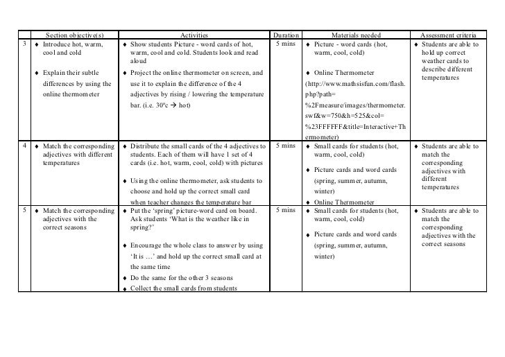 4 seasons teaching plan lesson 1 – Seasons Worksheet Kindergarten