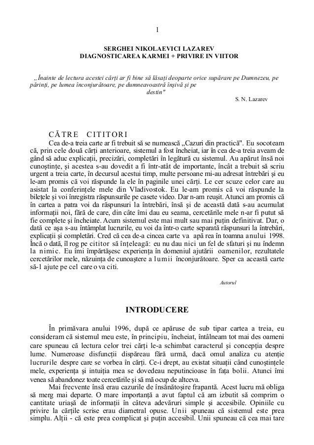 """1 SERGHEI NIKOLAEVICI LAZAREV DIAGNOSTICAREA KARMEI + PRIVIRE IN VIITOR """"Înainte de lectura acestei cărţi ar fi bine să lă..."""