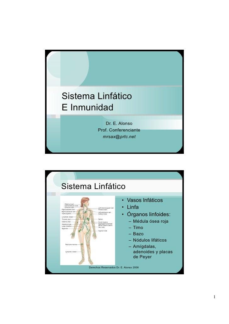 Sistema Linfático E Inmunidad                  Dr. E. Alonso              Prof. Conferenciante                mrsax@prtc.n...