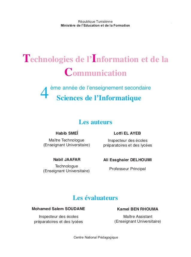 République Tunisiènne Ministère de l'Education et de la Formation  Technologies de l'Information et de la Communication  4...