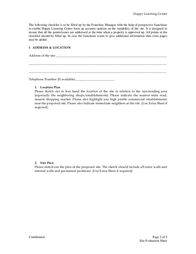 site evaluation form