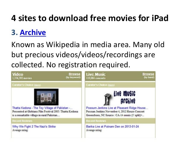 4 sites to download free movies for ipad