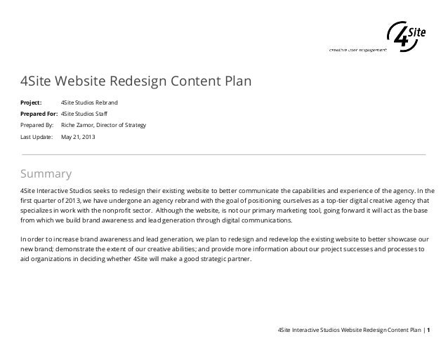 4Site Website Redesign Content PlanProject: 4Site Studios RebrandPrepared For: 4Site Studios StaffPrepared By: Riche Zamor...