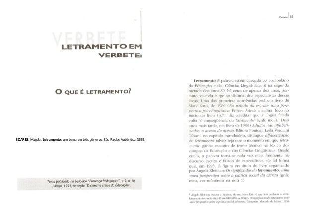 SOARES, Magda. Letramento: um tema em três gêneros. São Paulo: Autêntica 1999.