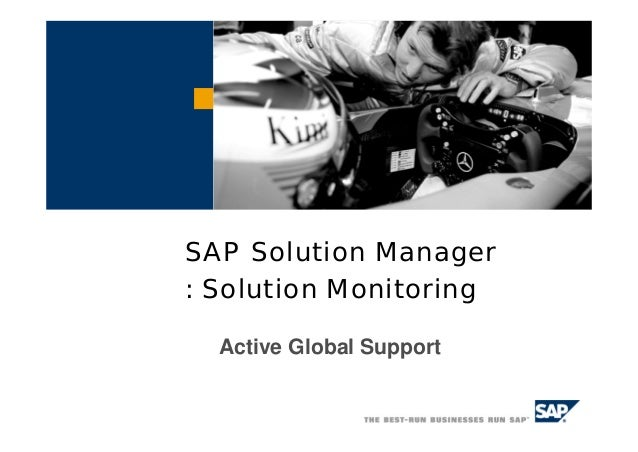 SAP Solution Manager: Solution Monitoring  Active Global Support