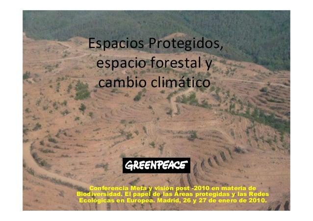 Conferencia Meta y visión post -2010 en materia de Biodiversidad. El papel de las Áreas protegidas y las Redes Ecológicas ...