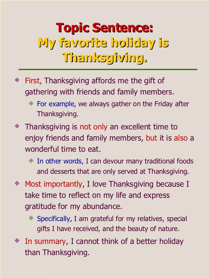 square holiday 16 topic sentence my favorite