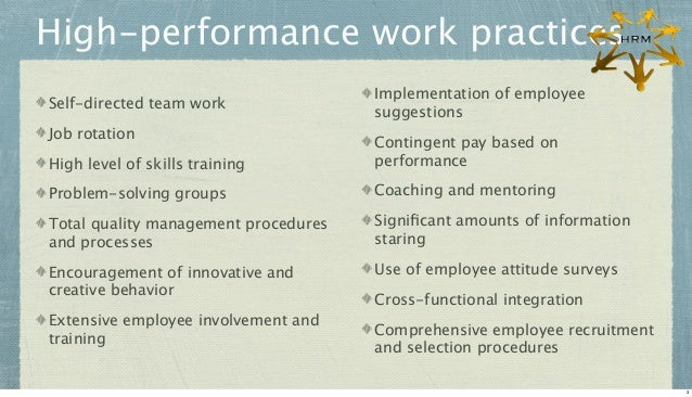 High-performance work practices Self-directed team work Job rotation  Implementation of employee suggestions  High level o...