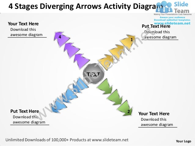 4 Stages Diverging Arrows Activity DiagramYour Text Here                              Put Text Here Download this         ...