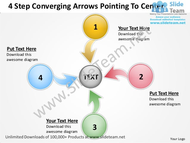 4 Step Converging Arrows Pointing To Center                                          1    Your Text Here                  ...