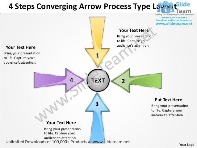 4 Steps Converging Arrow Process Type Layout                                                            Your Text Here    ...
