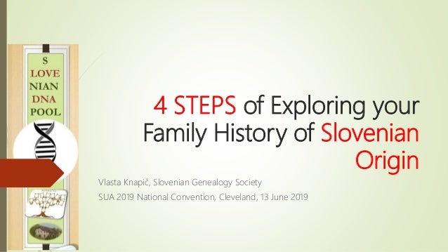4 STEPS of Exploring your Family History of Slovenian Origin Vlasta Knapič, Slovenian Genealogy Society SUA 2019 National ...