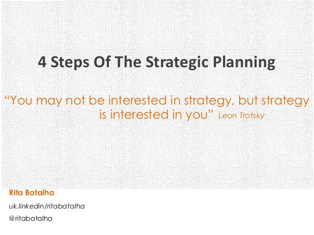 """4 Steps Of The Strategic Planning""""You may not be interested in strategy, but strategy              is interested in you"""" L..."""