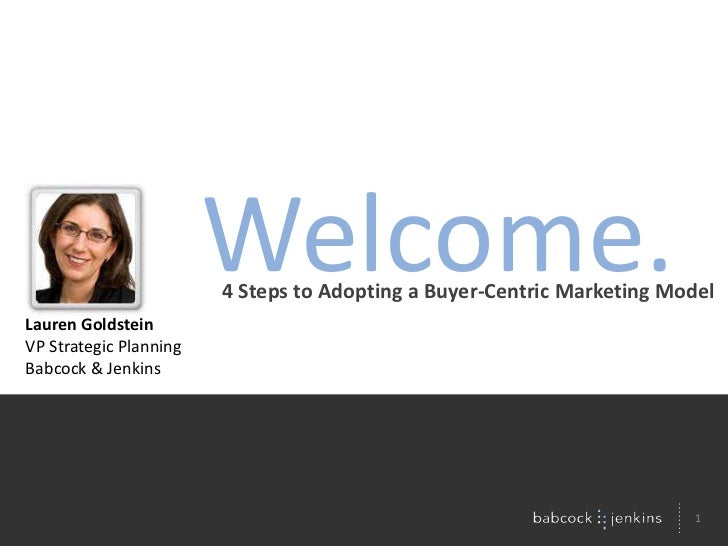 Welcome.<br />4 Steps to Adopting a Buyer-Centric Marketing Model<br />Lauren Goldstein<br />VP Strategic Planning<br />Ba...