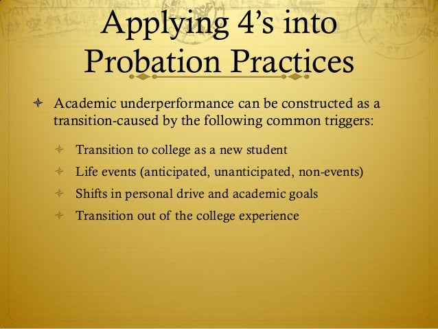academic probation The best way for a student to get off probation is to actively participate in the academic success program.