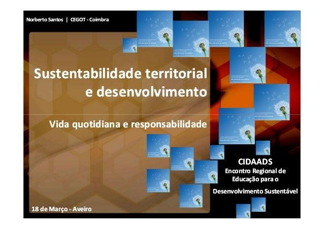 Norberto Santos | CEGOT - Coimbra   Sustentabilidade territorial          e desenvolvimento         Vida quotidiana e resp...