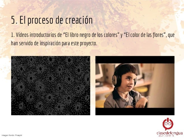 5. El proceso de creación 1. 2. Explicamos la sinestesia, como el recurso que nos permite asociar sensaciones percibidas p...