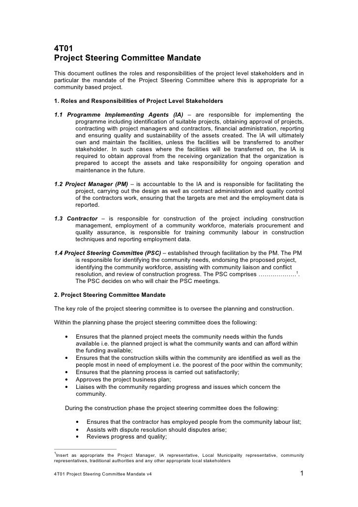 4 t01 steering committee terms of reference v4 0 4t01project steering committee mandatethis document outlines the roles and responsibilities of the project level stakehold pronofoot35fo Images