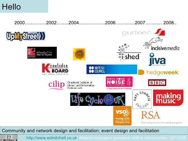 Hello 2000…..………2002……..2004……………..2006……..…..2007……..… 2008.. Community and network design and facilitation; event design...