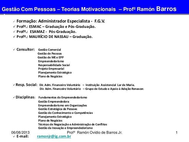 1  Formação: Administrador Especialista - F.G.V.  Profº.: ESMAC – Graduação e Pós-Graduação.  Profº.: ESAMAZ - Pós-Grad...