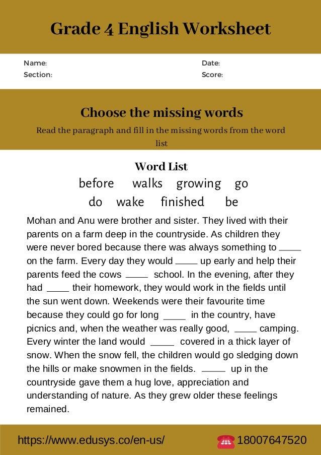 4th Grade English Worksheet Free Pdf Printable