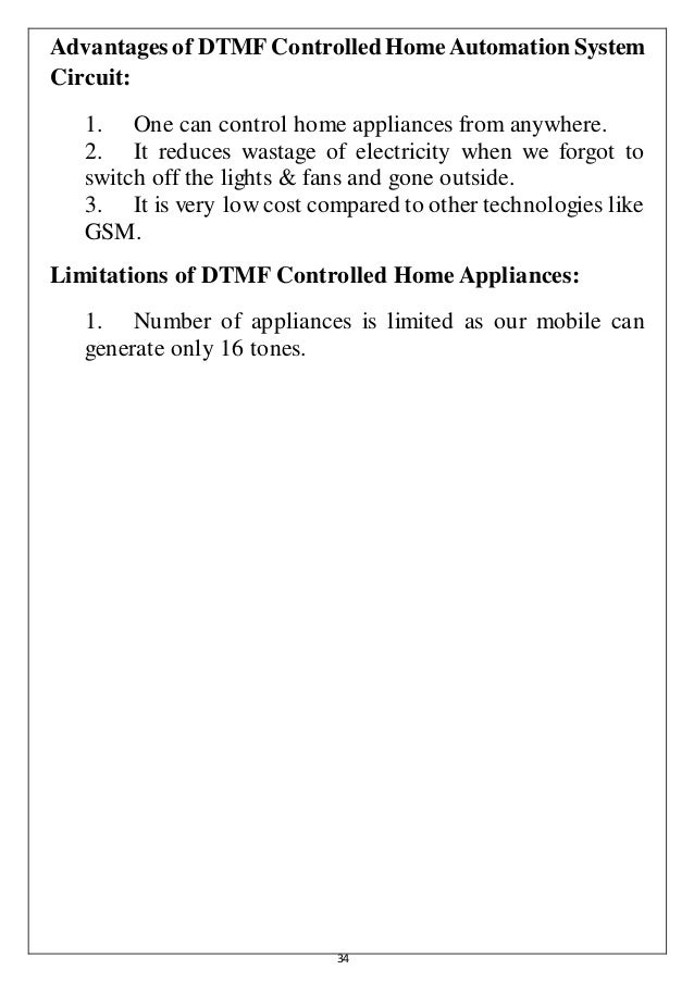 Cell Phone Controlled Home Automation System using DTMF Technology