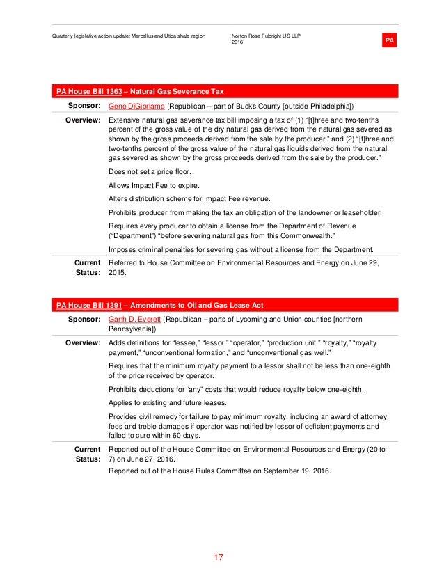 Quarterly legislative action update: Marcellus and Utica shale region…