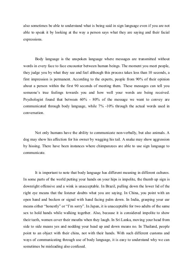 Essay On Banking Essay The Unspoken Body Language You  Also Essay About Communication  Nonverbal Verbal Communication Essay Argument Essay Ideas also Transition In Essay Essay On Body Language Essay The Unspoken Body Language Essay About  The Crucible Essay Questions