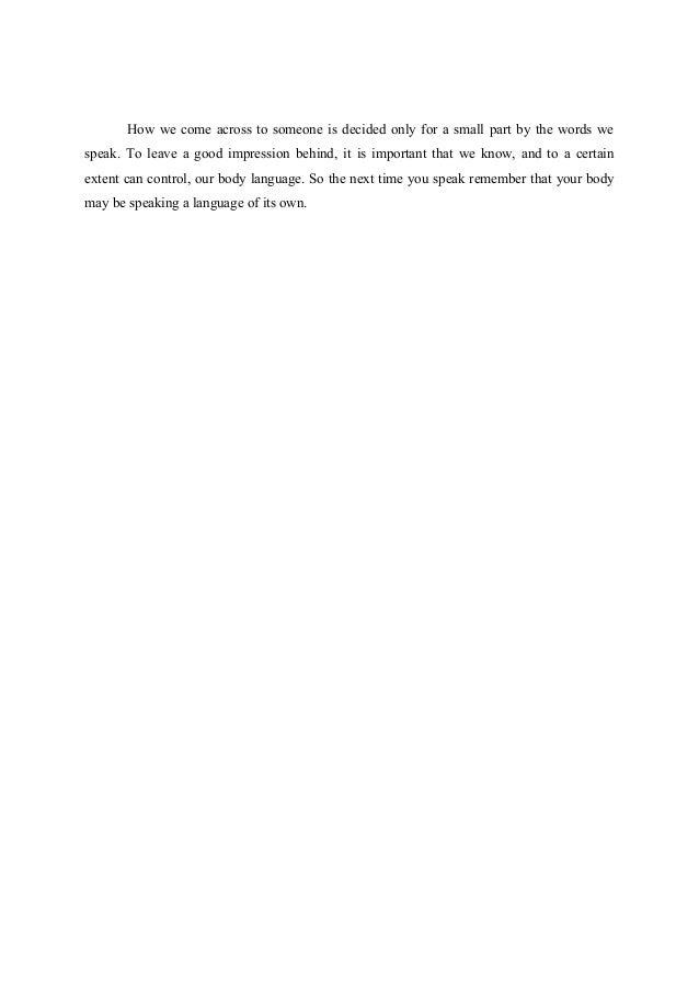 Essay - The Unspoken Body Language