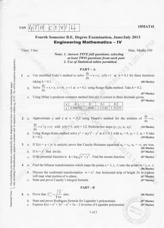 4th semester Civil Engineering (2013-June) Question Papers