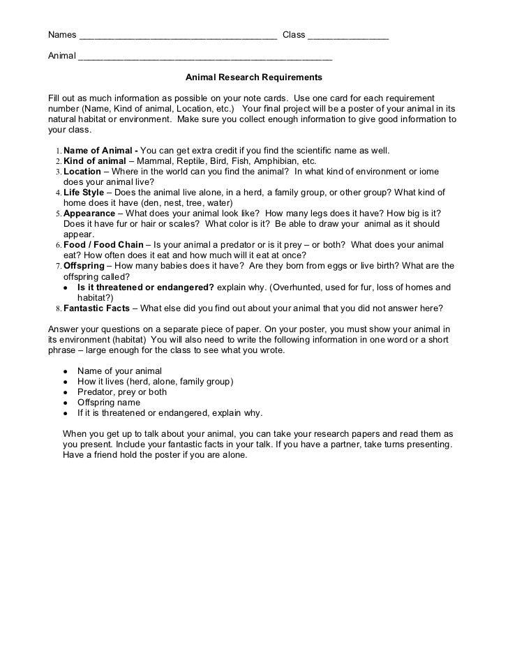 4th gradeanimalresearchrequirements