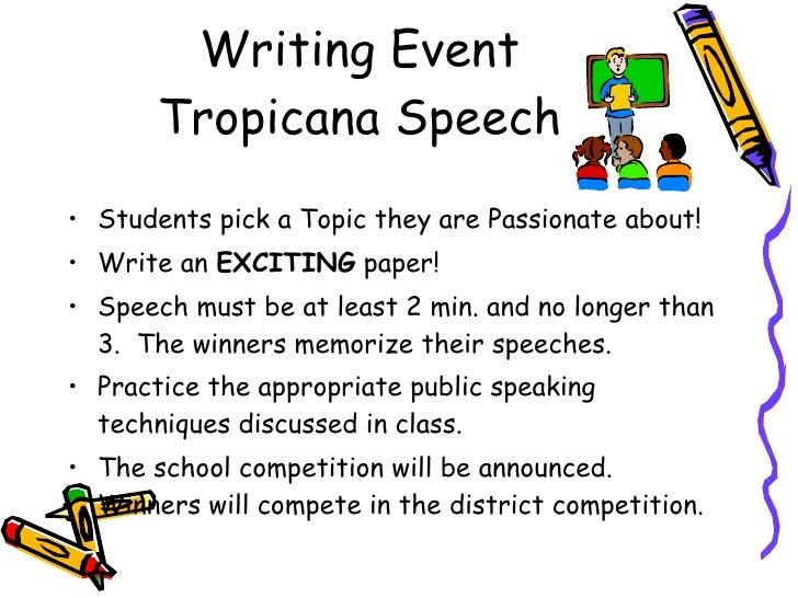 good tropicana speech topics