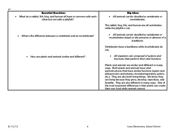 4th grade essential questions