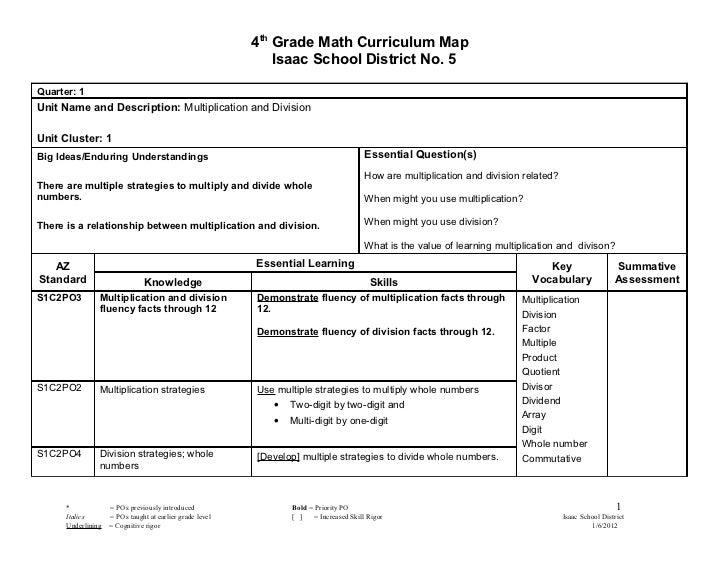 4th Grade Math Curriculum Map                                                              Isaac School District No. 5Quar...