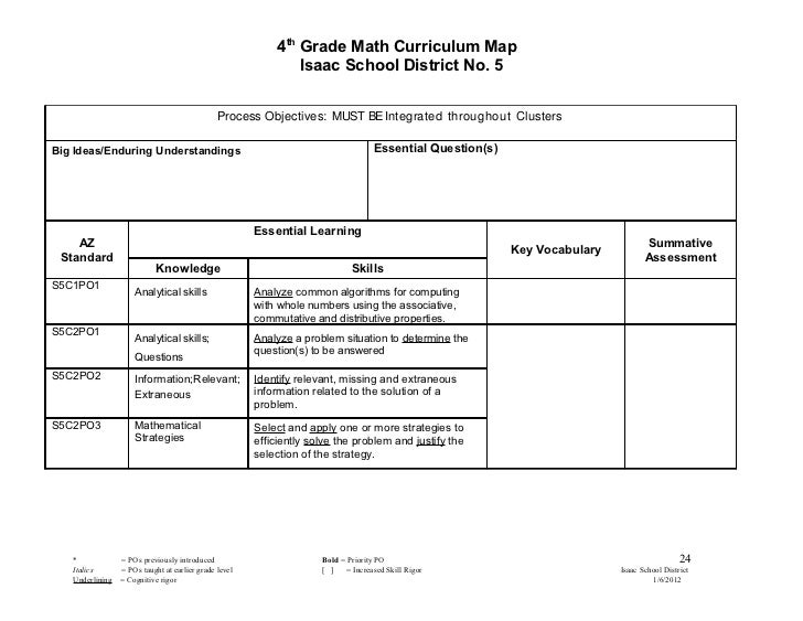 4th Grade Math Curriculum Map 2011 2012 1