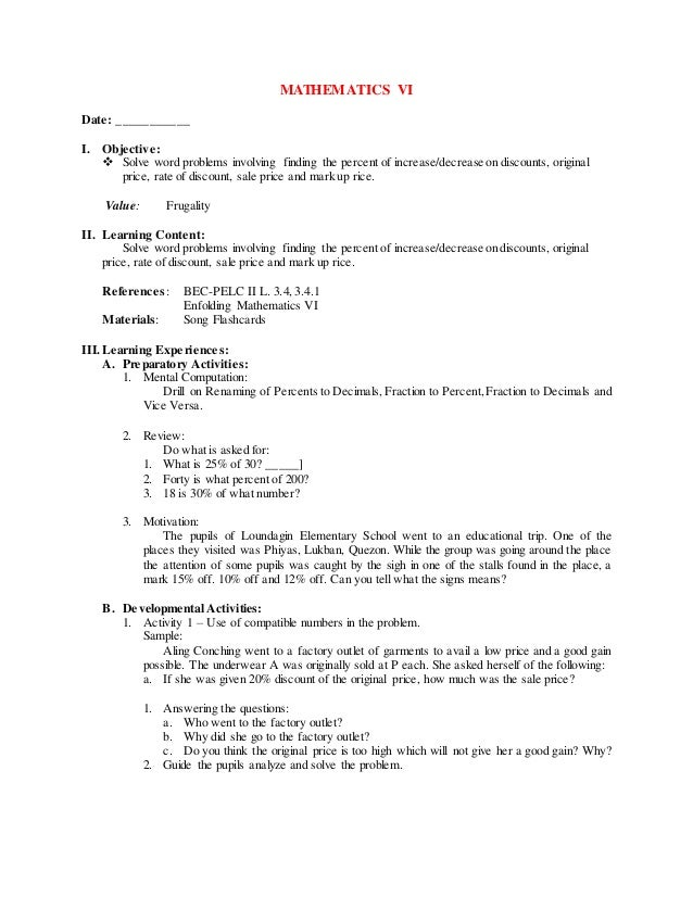 4th grading mathematics vi – Percent Increase and Decrease Word Problems Worksheet