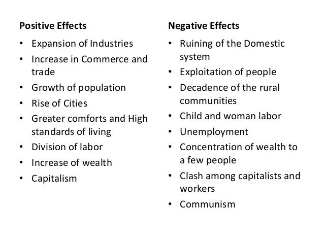 Positive and negative effects of the industrial revolution essay