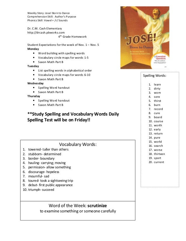 Weekly Story: Jose! Born to Dance Comprehension Skill: Author's Purpose Phonics Skill: Vowel + /r/ Sounds Dr. C.M. Cash El...