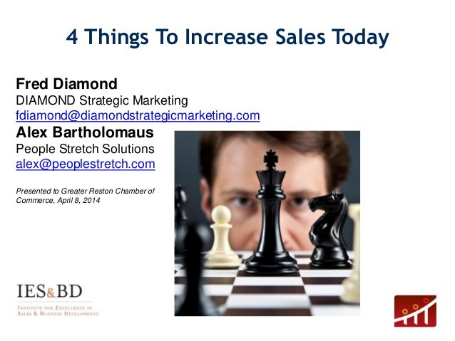 4 Things To Increase Sales Today 1 Fred Diamond DIAMOND Strategic Marketing fdiamond@diamondstrategicmarketing.com Alex Ba...