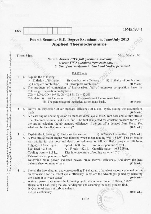 4th Semester Mechanical Engineering (2013-June) Question Papers